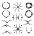 Laurel wreath tattoo set Black ornaments twelve vector image vector image