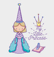 little princess cute hand drawing cartoon vector image