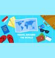 map and tourist accessories passport ticket wallet vector image
