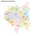 metropolis greater paris administrative map vector image vector image