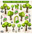 Park Set Lowpoly 3d Isometric vector image
