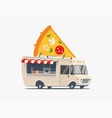 pizza food truck cartoon pizza delivery service vector image vector image