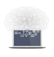 Realistic computer monitor set business icons vector image