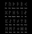rune set of outline letters on black background vector image