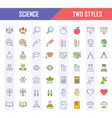 set flat line icons science vector image vector image
