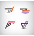 set of abstract stripe ribbon logos icons vector image