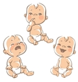 Set of baby emotion icons vector image vector image