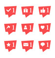 set of nine notifications in social media vector image