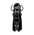 silhouette black front view superwoman standing in vector image