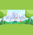 sport family father mother and son jogging in vector image