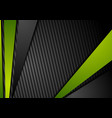 tech black background with contrast green stripes vector image vector image