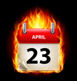 twenty-third april in calendar burning icon on vector image vector image
