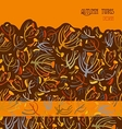Twigs pattern Orange brown background with border vector image