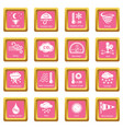 weater icons set pink square vector image vector image