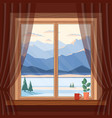 window view morning and evening blue vector image