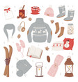 winter clothes warm set of hat scarf vector image