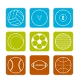 Flat icons sports balls on a Colored background vector image