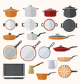 flat various tableware set vector image