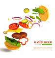 3d flying hamburger vector image vector image