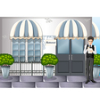 A waiter outside the restaurant vector image vector image