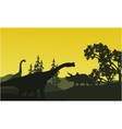 At moorning triceratops and brachiosaurus vector image vector image