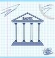 bank building line sketch icon isolated on white vector image
