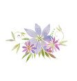 bouquet of beautiful tender purple clematis vector image vector image