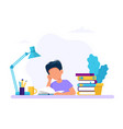 boy studying with a book concept for vector image vector image