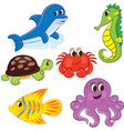 cartoon sea animals6 color vector image vector image
