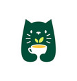 cat tea leaf cup negative space logo icon vector image vector image