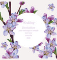 cherry flowers blossom card frame spring summer vector image vector image