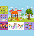 children having fun at school and playground vector image vector image