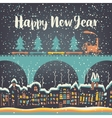 Christmas card with a vintage steam vector image