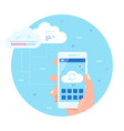 cloud data storage computing concepts flat style vector image