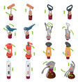 corkscrew wine opener icons set isometric style vector image
