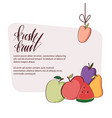 cute set with cheerful fruit vector image vector image