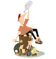 dump and beggar man with an empty bottle vector image