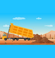 Dumping truck at the construction site vector image