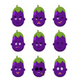 eggplant face set sleeping and evil emotion vector image vector image