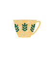 flat ceramic crockery cup decorated icon vector image