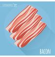Flat design sliced bacon with long shadow vector image