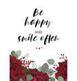 floral greeting card design with red flowers vector image vector image