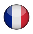 france flag in glossy round button of icon france vector image