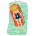 Girl sunbathing at the beach vector image