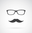 Glasses and mustache vector image