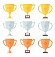 Gold silver bronze trophy in flat icons set vector image
