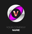 golden letter v logo in the silver-purple circle vector image