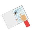 hand pointing a curriculum vitae vector image