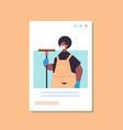 janitor holding shower wiper squeegee labor day vector image vector image