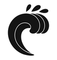 Large curling wave icon simple style vector image vector image